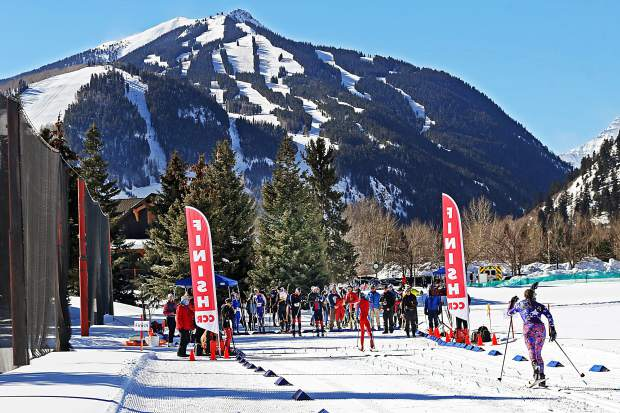 A racer approaches the finish of the Owl Creek Chase cross-country ski race on Sunday, Feb. 10, 2019, at the Aspen Nordic Center. (Photo by Austin Colbert/The Aspen Times).