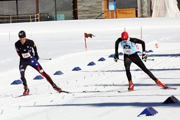 Boulder's Matt Rossman, right, tries to catch up to Steamboat's Erik Lynch in the Owl Creek Chase cross-country ski skate race on Sunday, Feb. 10, 2019, at the Aspen Nordic Center. Lynch narrowly pulled out the win. (Photo by Austin Colbert/The Aspen Times).