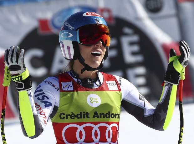 United States' Mikaela Shiffrin reacts after competing in the women's super G race at the alpine ski World Cup finals, in Soldeu, Andorra, Thursday, March 14, 2019. (AP Photo/Alessandro Trovati)