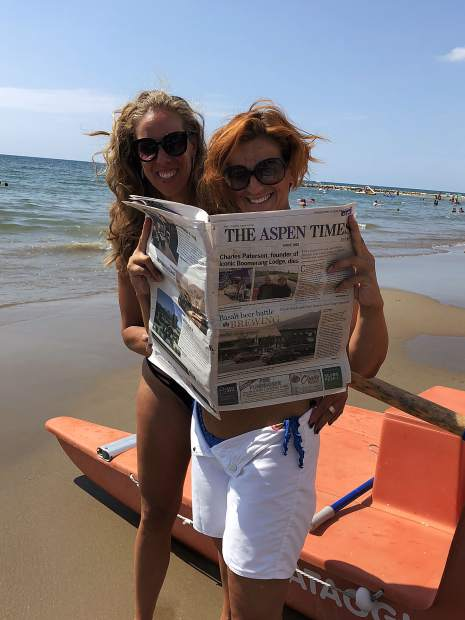 From left to right, Alessandra Lembo and Alexia D'Ascenzo show off an Aspen Times while on the beach in Anzio, near Rome.