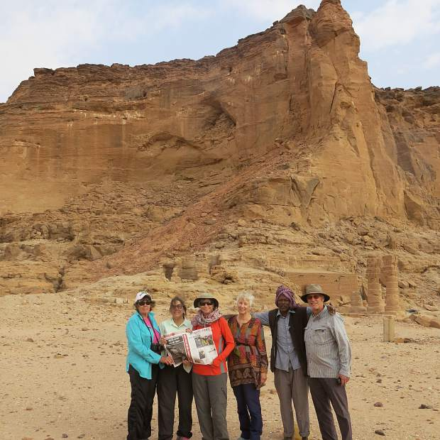 Ann Keller, Carol Kurt, Susan Cashel, Mary Jo Kimbrough, and Pat Seydel enjoyed a recent trip to see ancient ruins in Northern Sudan in the Nubian Desert along the Nile. They also brought along a copy of The Aspen Times.