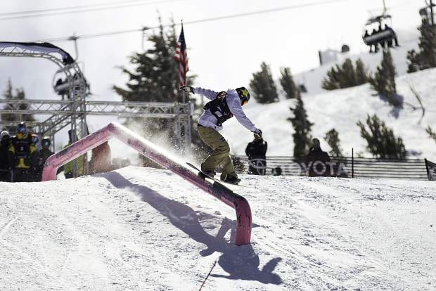 Chris Corning of Silverthorne executes a trick on a slopestyle rail during qualifiers earlier this week at the Toyota U.S. Grand Prix at Mammoth Mountain Resort in California. Corning finished in fifth place at Saturday's finals.