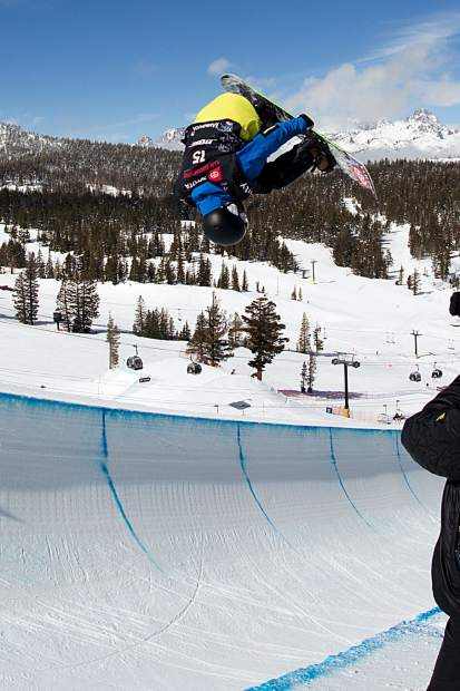Chase Blackwell of Dillon executes a trick in mid-air during qualifiers earlier this week at the Toyota U.S. Grand Prix at Mammoth Mountain Resort in California. Blackwell made it through qualifiers before finishing in 16th place at Saturday's finals.