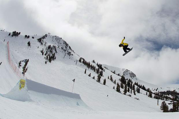 Red Gerard executes a trick during qualifiers for the Toyota U.S. Grand Prix slopestyle competition at Mammoth Mountain Resort in California earlier this week. On Saturday, Gerard won the contest, his second consecutive victory in as many weeks after winning the Burton U.S. Open in Vail last weekend.