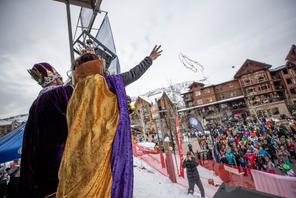 This year's Mardi Gras King and Queen, Lindsay and Shaun Cagley celebrating at  Snowmass Base Village on Tuesday.