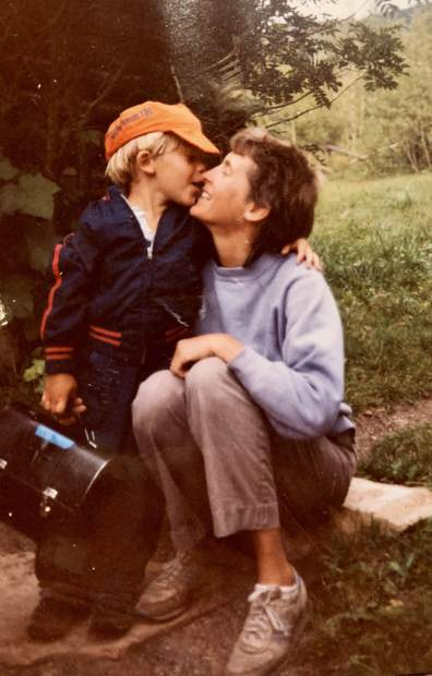 Annie Teague and her son, August, in 1984.