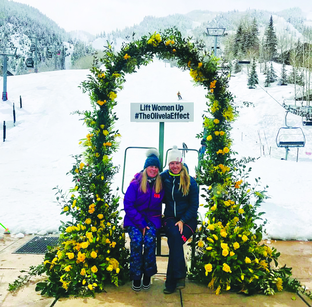 Mother/daughter duo Jerry Vest and Tucker Vest Burton after the Aspen Mountain ski parade on International Women's Day. Courtesy photo.