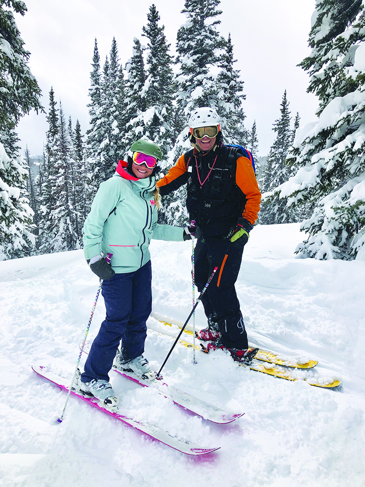 Friends on a powder day and every day - Emily Sedgwick and Greg McFadden.