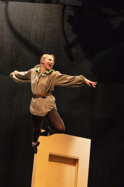 Morgan Witt performing as Peter Pan during a rehearsa on March 7.