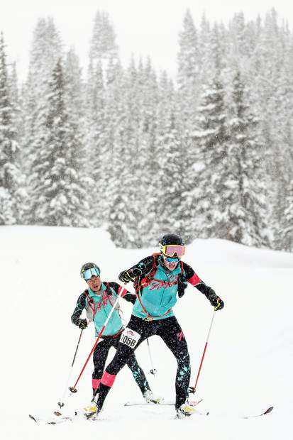 Roaring Fork Valley locals John Gaston, front, and Max Taam compete in the Power of Four ski mountaineering race on the Richmond Ridge section on Aspen Mountain. The route was re-routed from Midnight Mine to Richmond Ridge due to avalanche danger with the recent snowfall. Gaston and Taam took first place overall.