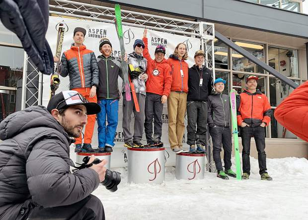 The 2019 Audi Power of Four ski mountaineering race men's podium on Saturday, March 2, 2019, in Aspen. (Photo by Austin Colbert/The Aspen Times).