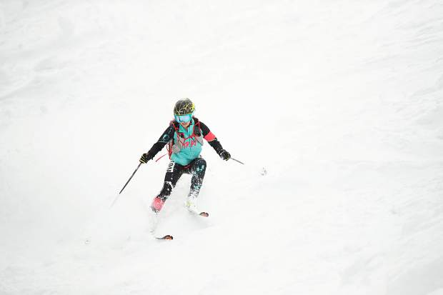 Jessie Young skis down Walsh's on Aspen Mountain for the ski mountaineering race the Power of 4 on Saturday.  Larochelle and her teammate, Jessie Young, were the first female team to finish the race on Saturday.