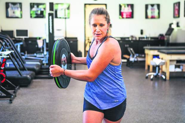 U.S. Ski Team member Alice McKennis works on her core muscles at the Minturn Fitness Club earlier this month.