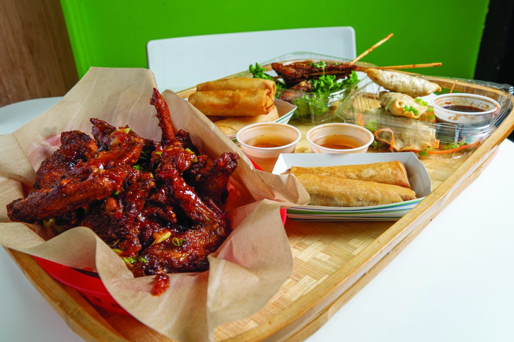 Appetizers at Bamboo Bear: chicken skewers, dumplings, fried homemade hand rolled spring rolls and chicken wings tossed in bear breath sauce