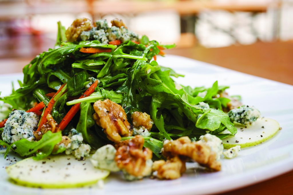 Danish blue and pear salad with green pear, candied walnuts and lemon herb vinaigrette