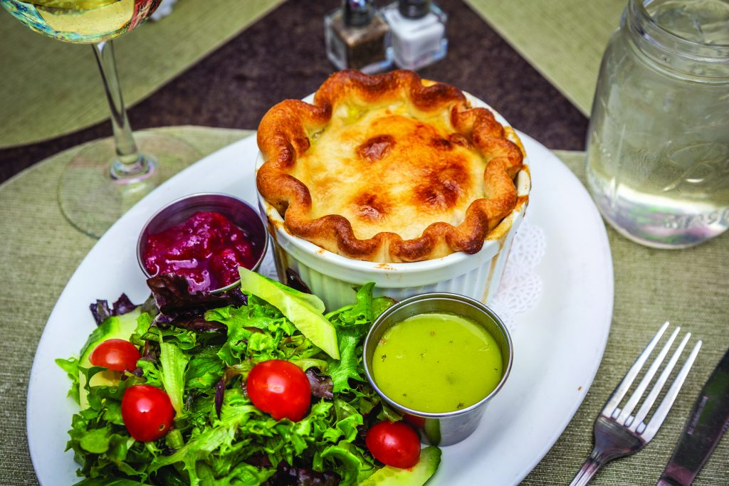 Heather's Famous Chicken Pot Pie with homemade cranberry sauce