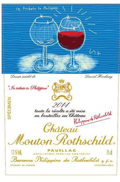 Chateau Mouton Rotchschild's 2014 label featured a painting by artist David Hockney.