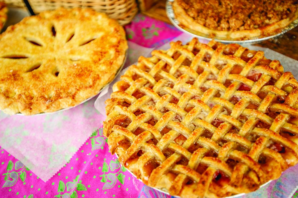 Pies, quiche, and pastries spread out at the Mountain Oven booth out of Paonia at the last Aspen farmer's market for the season on Oct 6.