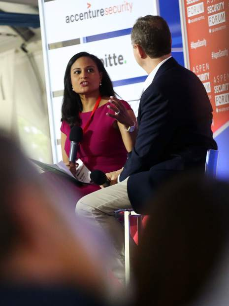 Moderator Kristen Welker of NBC News talks with congressman Adam Schiff, chairman of the House Permanent Select Committee on Intelligence, as part of the Aspen Security Forum on Saturday, July 20, 2019, inside the Greenwald Pavilion in Aspen. (Photo by Austin Colbert/The Aspen Times)