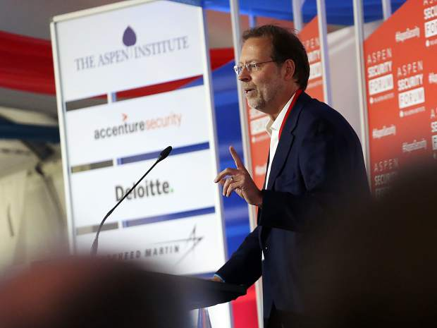 Dan Porterfield, the president and CEO of The Aspen Institute, gives some introductory remarks prior to a talk by congressman Adam Schiff, chairman of the House Permanent Select Committee on Intelligence, as part of the Aspen Security Forum on Saturday, July 20, 2019, inside the Greenwald Pavilion in Aspen. (Photo by Austin Colbert/The Aspen Times)