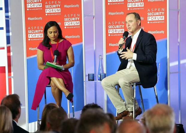 Congressman Adam Schiff, chairman of the House Permanent Select Committee on Intelligence, talks with moderator Kristen Welker of NBC News as part of the Aspen Security Forum on Saturday, July 20, 2019, inside the Greenwald Pavilion in Aspen. (Photo by Austin Colbert/The Aspen Times)