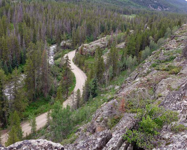 One of four potential dam sites on lower Homestake Creek, about four miles above U.S. 24, between Minturn and Leadville. From this location, the dam that forms Homestake Reservoir higher up the creek can be seen.