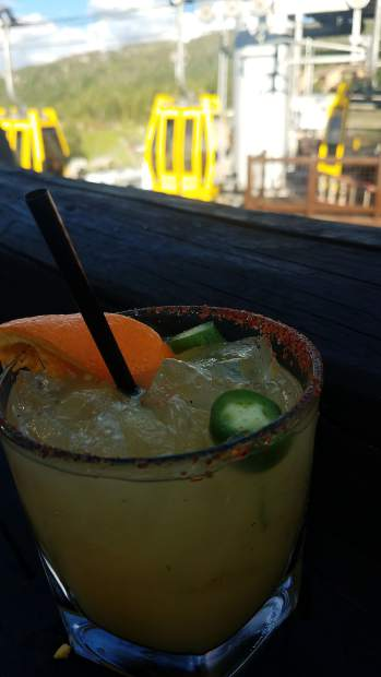 Venga Venga's spicy orange margarita is a nice choice while enjoying the views from the popular patio overlooking the Skittles.
