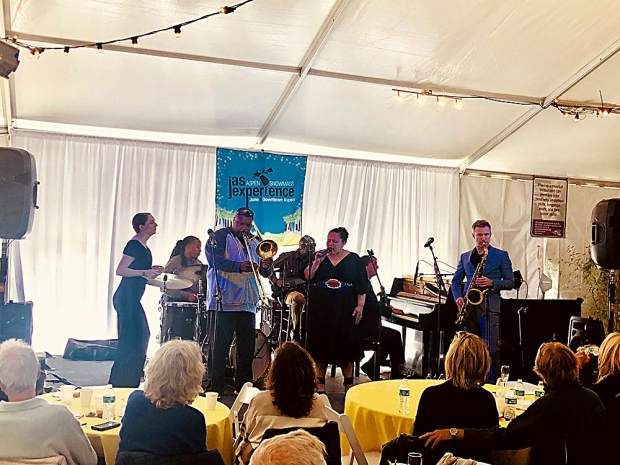 Trombonist Wycliffe Gordon performs with a stage full of talented musicians at the Jazz Aspen Snowmass New Orleans Jazz Brunch on June 23.