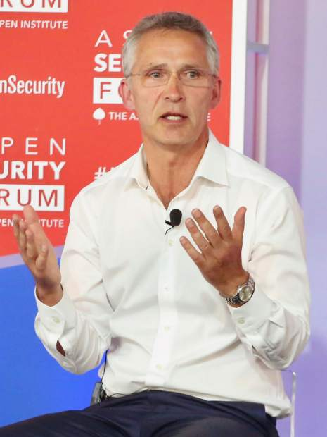 Jens Stoltenberg, right, the secretary general of the North Atlantic Treaty Organization, talks with NBC News reporter Courtney Kube (not pictured) as part of the Aspen Security Forum on Wednesday, July 17, 2019, at the Greenwald Pavilion in Aspen. (Photo by Austin Colbert/The Aspen Times)