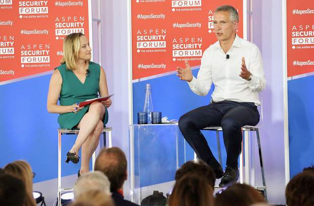 Jens Stoltenberg, right, the secretary general of the North Atlantic Treaty Organization, talks with NBC News reporter Courtney Kube as part of the Aspen Security Forum on Wednesday, July 17, 2019, at the Greenwald Pavilion in Aspen. (Photo by Austin Colbert/The Aspen Times)