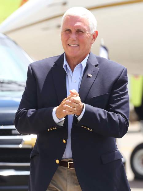 Vice President Mike Pence arrives at the Aspen/Pitkin County Airport on Monday, July 22, 2019. He came to Aspen for a fundraiser and was expected to depart on Tuesday. (Photo by Austin Colbert/The Aspen Times)