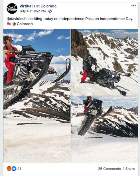 """In a July 4 Facebook post, the outdoor clothing company David Lesh founded, Virtika, posted three pictures of Lesh riding a snowmobile with the caption """"@davidlesh sledding today on Independence Pass on Independence Day."""""""