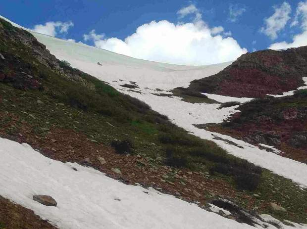 A snowy scene on the Four Pass Loop. Wilderness ranger Jerome Olp made the trip July 12-15.