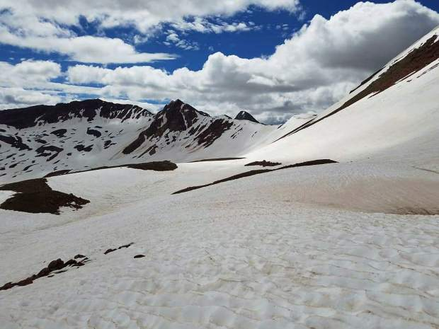 Aspen-Sopris District Wilderness Ranger Jerome Olp completed the Four Pass Loop on Monday. He encountered significant snow, as this photo of the West Maroon Pass area shows.