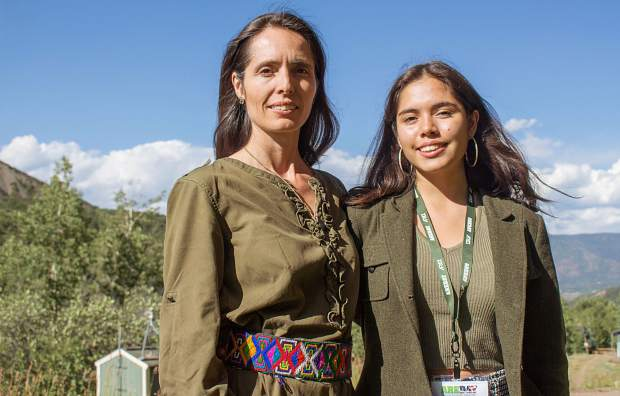 Xiye Bastida Patrick stands with her mom outside of the Viceroy Snowmass resort on Thursday afternoon. Environmental activism has deep roots in Bastida Patrick's family history, which her mother believes is why she has grown to be a leading youth climate change activist.