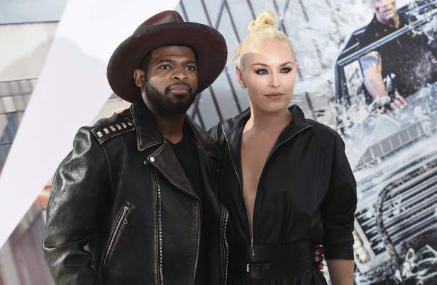 Lindsey Vonn and P. K. Subban arrive at the Los Angeles premiere of