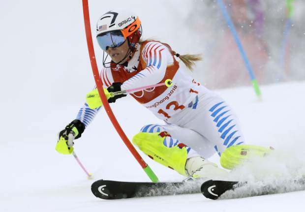Lindsey Vonn competes in the women's combined slalom at the 2018 Winter Olympics in Jeongseon, South Korea.