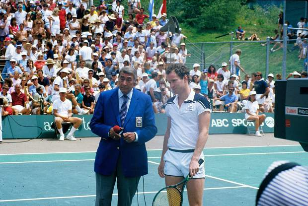 Howard Cosell and John McEnroe at the Aspen Tennis Festival, July 1984.