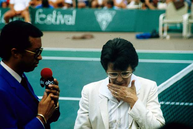 Arthur Ashe and Billy Jean King at the Aspen Tennis Festival, July 1984.