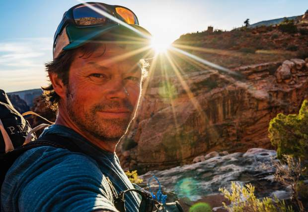 Pete McBride self portrait taken at mile 600 during his 750-mile hike through the entire length of Grand Canyon National Park.