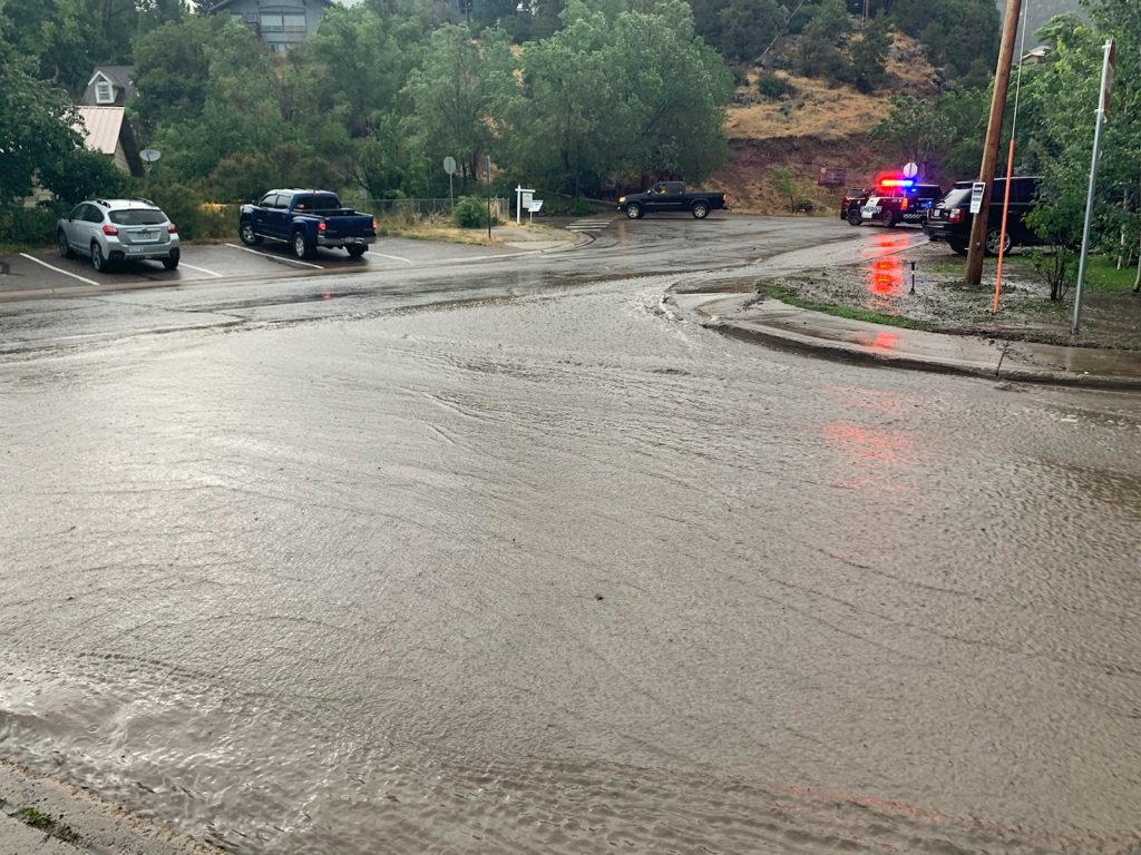 Flash flooding in the Lake Christine Fire burn scar have caused road closures and evacuations on Sunday afternoon after storms rolled through the area. The Fryingpan Road is closed just outside of Basalt and water is also rushing down the road.