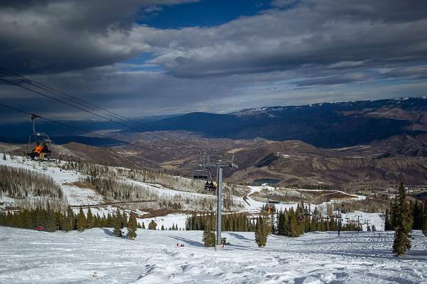 Moody clouds loom over the Big Burn area on Snowmass Ski Area's opening day Nov. 22, 2018.