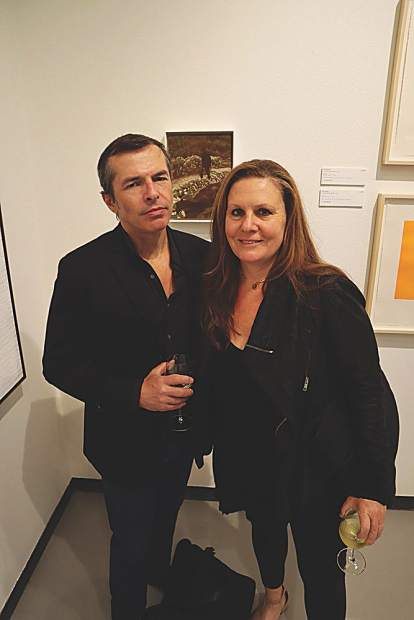 Artist Matvey Levenstein at PreviewCrush beside his donated painting, November, and his wife, Lisa Yuskavage, the recipient of the 2019 Aspen Award for Art.