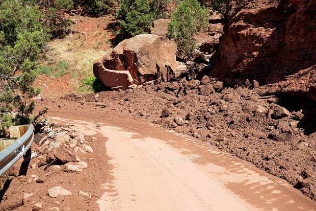 Flash flood damage on Cedar Drive on Monday as a result from the rainstorm Sunday night.
