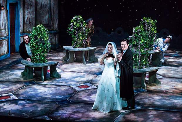 """Avery Boettcher as the Countess and Xiaomeng Zhang as Count Almaviva in Aspen Opera Theater's production of Mozart's """"Le Nozze di Figaro"""" at the Wheeler Opera House."""