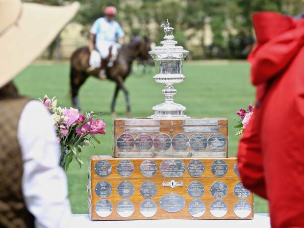 The USPA Silver Cup awaits awarding during the Aspen Valley Polo Club's Chukkers, Champagne & Caviar fundraiser for the Aspen Valley Hospital Foundation on Sunday, Aug. 11, 2019, at McClure River Ranch near Carbondale. (Photo by Austin Colbert/The Aspen Times)