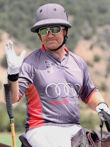 Marc Ganzi plays during the Aspen Valley Polo Club's Chukkers, Champagne & Caviar fundraiser for the Aspen Valley Hospital Foundation on Sunday, Aug. 11, 2019, at McClure River Ranch near Carbondale. (Photo by Austin Colbert/The Aspen Times)