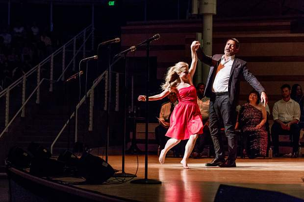 """Nathan Gunn and Christy Altomare in the concert performance of """"South Pacific"""" at the Benedict Music Tent."""
