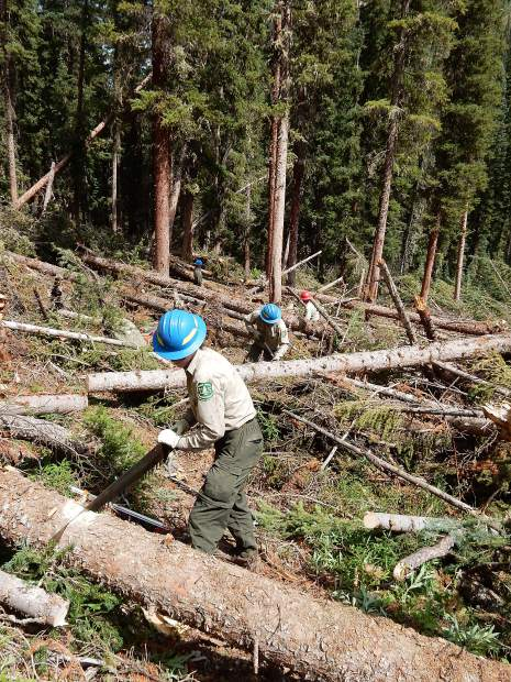 Members of the wilderness and trail crews combined forces Friday to cut through avalanche debris on the South Fork Trail in Upper Fryingpan Valley.