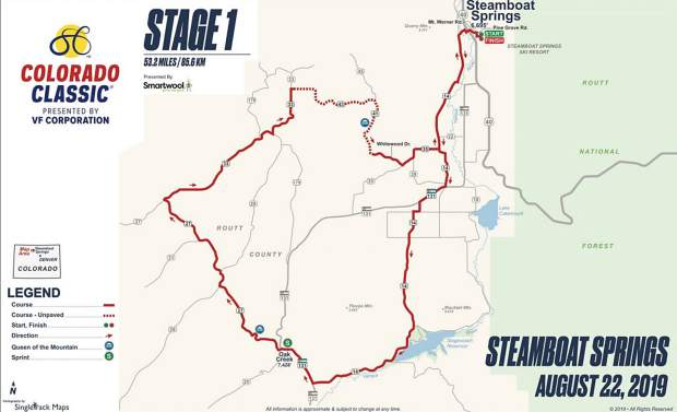 The course for stage 1 of the Colorado Classic, which will start and finish at the Meadows Parking lot of the Steamboat Resort.